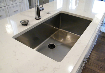 "32"" Single bowl undermount stainless steel sink installed"