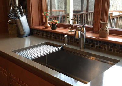 Stainless steel ledge sink roll mat