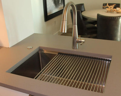 Stainless steel undermount sink drying rack