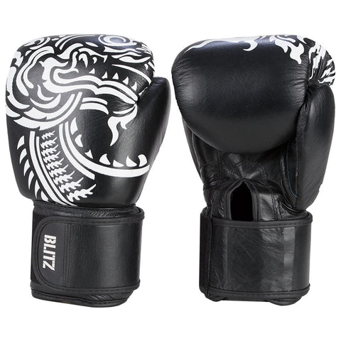 Blitz Firepower Muay Thai Leather Boxing Gloves - BLACK