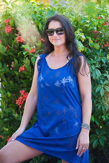 Palm Tree Cotton Tee Dress Beach Cover Up KV392