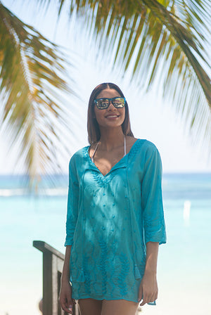 Sea Garden Cotton Tunic Beach Coverup KV424