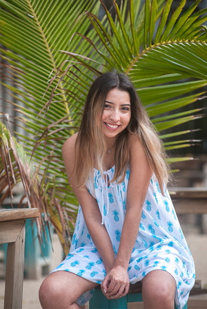 Aloha Pineapple Strappy Beach Dress KV440