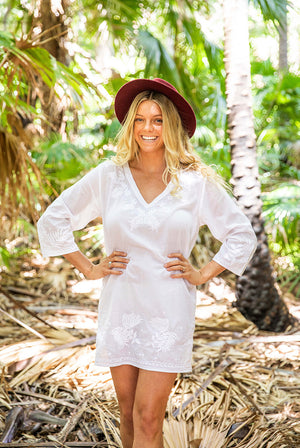 Heliconia Cotton Tunic Beach Coverup KV524