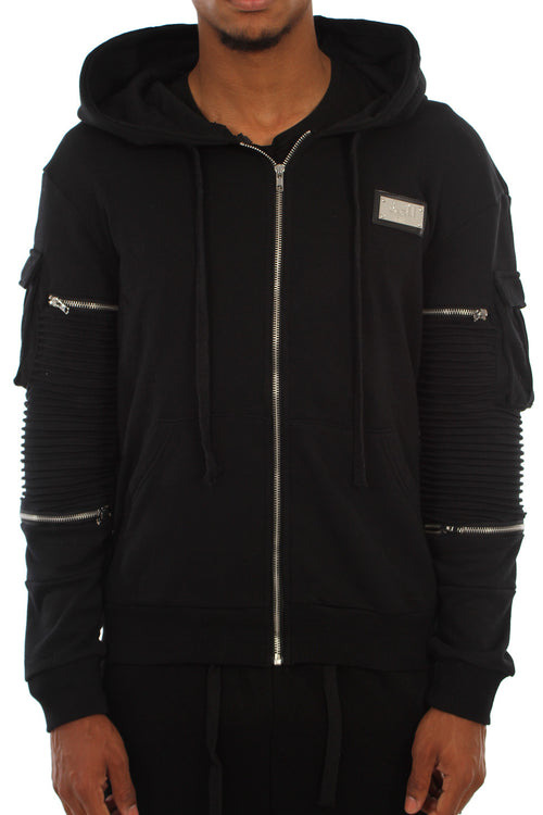 BLACK RIBBED ZIP JACKET