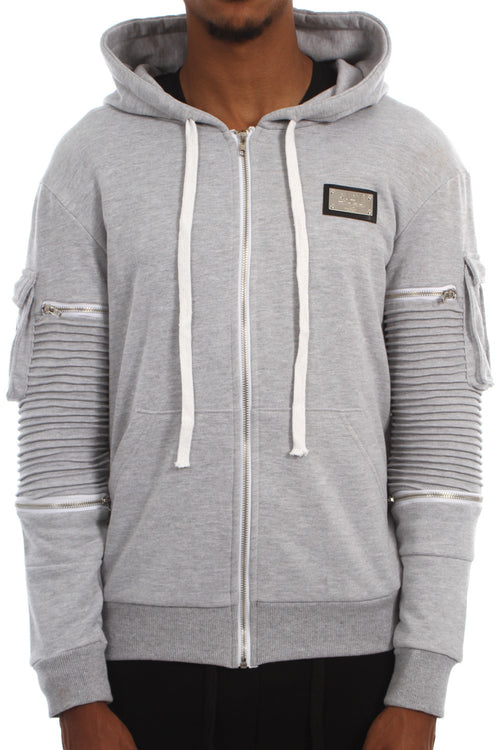 GREY RIBBED ZIP JACKET