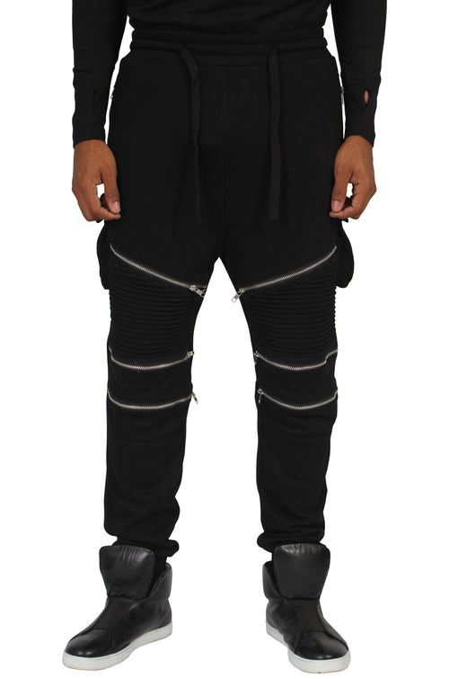 BLACK RIBBED ZIP TRACKSUIT BOTTOMS