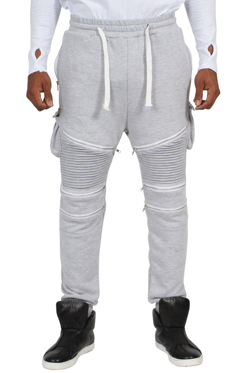 GREY RIBBED ZIP TRACKSUIT BOTTOMS