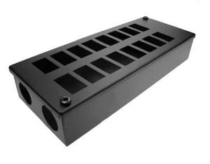 Horizontal 16-way Data Box-16 x 6C data cut-outs in 2 x 8 rows & 2 x 32mm gland holes