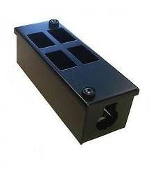 Vertical 4-way Data Box-4 x 6C data cut-outs in 2 x 2 rows with 1 x 32mm gland hole