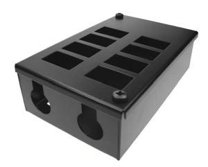Horizontal 8-way Data Box-8 x 6C data cut-outs in 2 x 4 rows & 2 x 25mm gland holes
