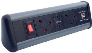 Desktop P-PACK with Dual USB charger with 4 x individually fused power & master switch