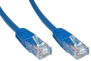 Cat6 Patch Lead Slim-line moulded boots 1 Mtr  Blue  24 AWG 250MHz