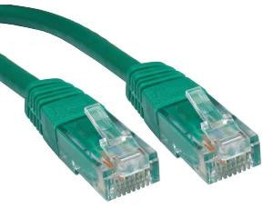 Cat6 Patch Lead Slim-line moulded boots 1 Mtr  Green  24 AWG 250MHz