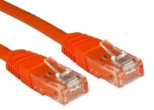 Cat6 Patch Lead Slim-line moulded boots 10 Mtr  Orange  24 AWG 250MHz