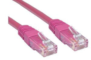 Cat6 Patch Lead Slim-line moulded boots 10 Mtr  Pink  24 AWG 250MHz