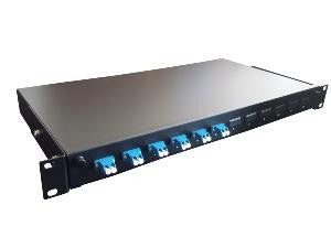 LC Duplex 8 port 12 position patch panel loaded with 4 LC duplex singlemode adaptors
