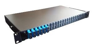 SC Duplex 16 port 24 position patch panel loaded with 8 SC duplex multimode adaptors