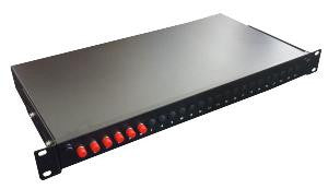 FC Simplex 4 port patch panel loaded with 4 FC screw mounted singlemode adaptors