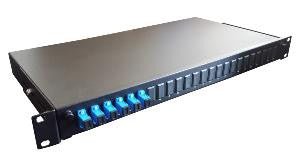 SC Simplex 2 port 12 position patch panel loaded with 2 SC simplex singlemode adaptors