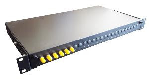 ST Simplex 16 port patch panel loaded with 16 ST screw mounted singlemode adaptors