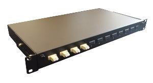 LC Duplex 16 port 12 position patch panel loaded with 8 LC duplex multimode adaptors