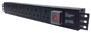 Horizontal 1.5U 13A UK surge / filter PDU with 13A plug and switch to 3m lead: 6-way 13 amp