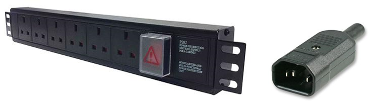 Horizontal 1.5U 13A UK PDU with C14 Plug and 3m lead: 5-way 13 amp-Switched