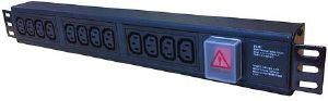 Horizontal 1.5U IEC surge / filter PDU with 13A plug and switch to 3m lead: 12-way