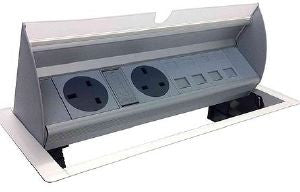 Horizontal In desk power dock 2 x UK fused sockets 2 x data space desk cut-out 249mm x 132mm