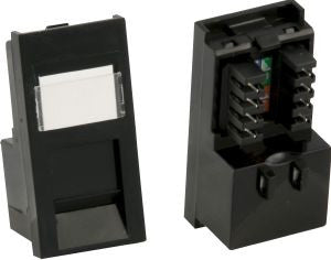 Matrix Euro RJ45 Cat5e UTP Single Shuttered Module-black