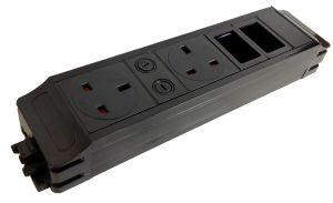 Under Desk P-Pack 2 x UK individually fused sockets 2 x 6C data cut-outs