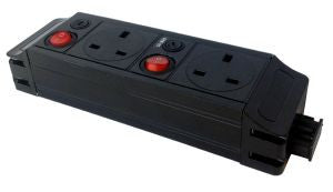 Under Desk P-Pack 2 x individually fused sockets orientated north / north 2 x single pole switch