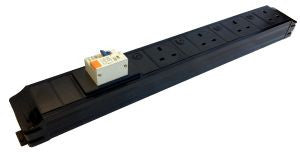 Under Desk P-Pack 6-way individually fused power feed unit with 16A RCBO