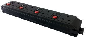 Under Desk P-Pack 4 x individually fused sockets orientated north 4 x single pole switch