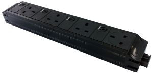 Under Desk P-Pack 4 x individually fused sockets orientated west / north / north / east