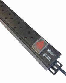 Vertical 13A UK PDU with 13A plug and switch to 3m lead : 4-way 13 amp