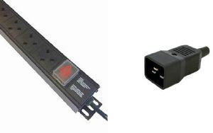 Vertical 13A UK PDU surge / filter with C20 plug and switch to 3m lead:10-way 13 amp