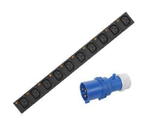 Vertical individually fused IEC C13 PDU with 32A plug and 3m lead:16-way