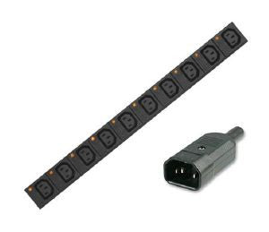 Vertical individually fused IEC C13 PDU with C14 plug and 3m lead:16-way