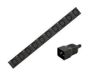 Vertical individually fused IEC C13 PDU with C20 plug and 3m lead: 20-way