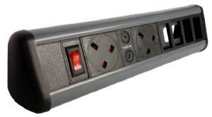 Desktop P-PACK with 2 x individually fused power & master switch with 2 x Cat 6 Couplers