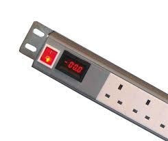 Vertical 12-way UK PDU with digital amp meter to 3m lead-16A Plug