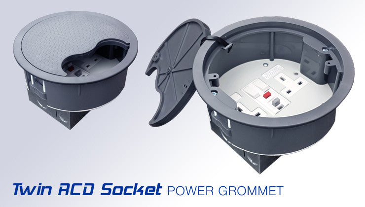 Power Grommet, 169mm, with 2 x UK 13A socket & RCD - Dark Grey