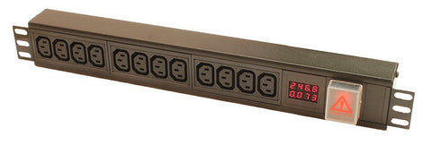 Vertical 16-way IEC C13 PDU with digital amp meter to 3m lead-16A Plug