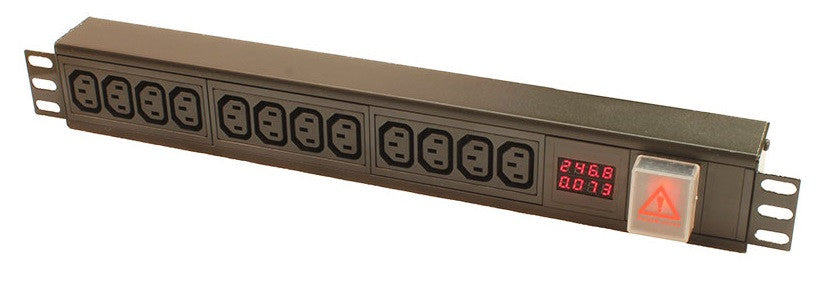 Vertical 16-way IEC C13 PDU with digital amp meter to 3m lead-32A Plug