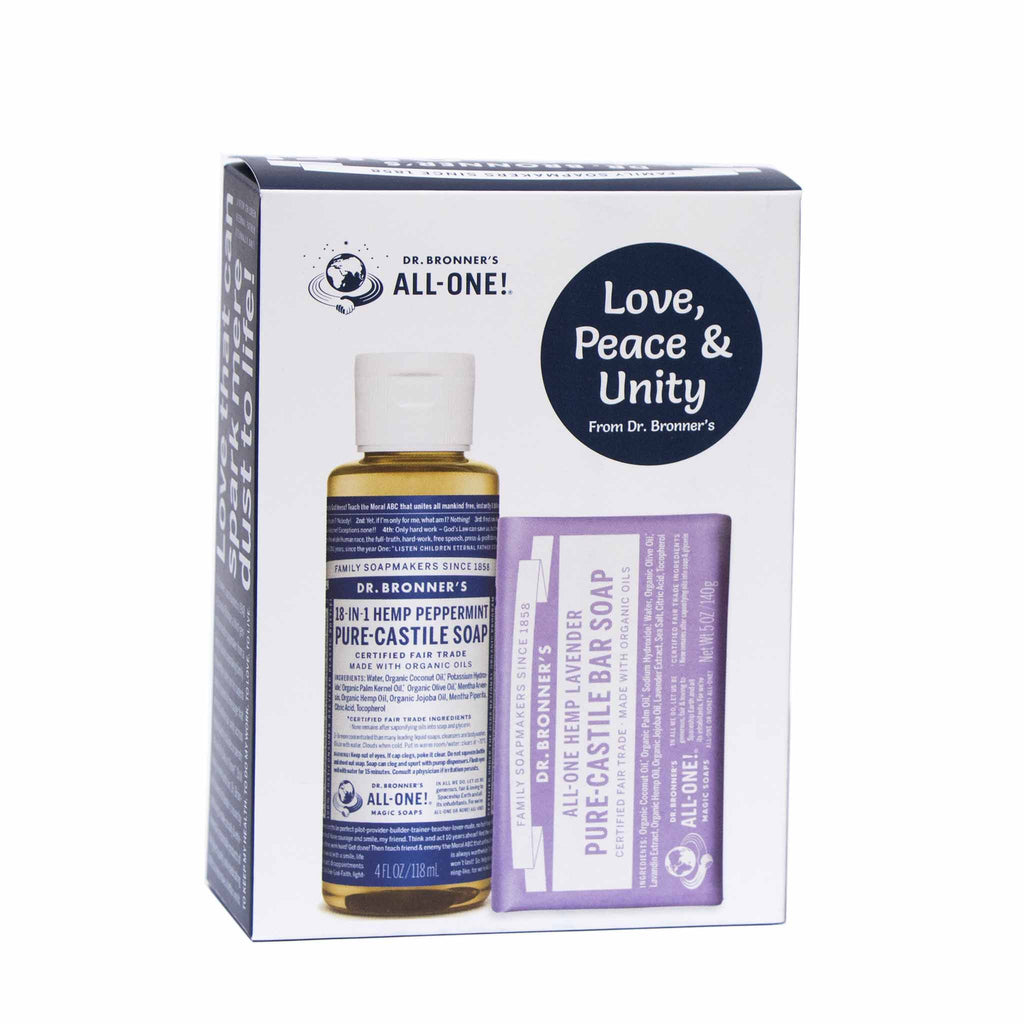 Gift Pack - Peppermint & Lavender - Pure-Castile Liquid & Bar Soap