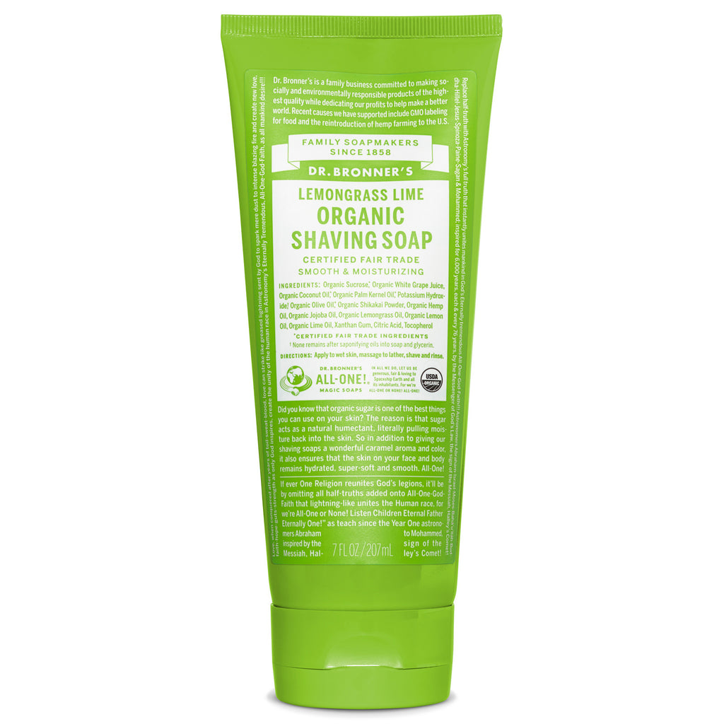 Dr. Bronner's Organic Shaving Soap - Lemongrass Lime - 208mL
