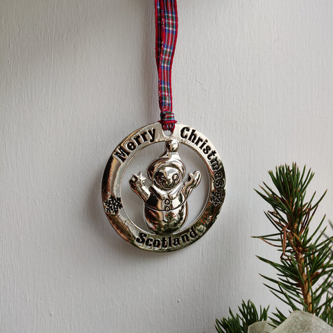 Scottish Hanging Christmas Roundel Snowman