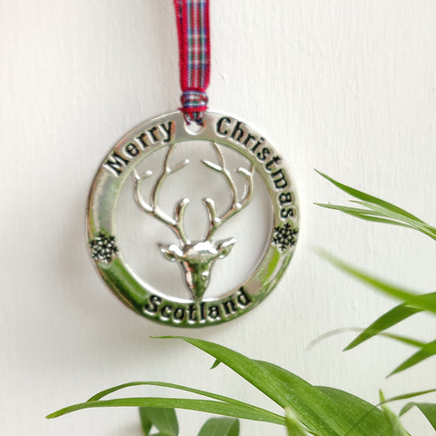 Scottish Hanging Roundel Stag Silver